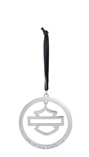Harley-Davidson Holiday Circle Bar & Shield Logo Bling Silver Ornament.96844-15V - Wisconsin Harley-Davidson