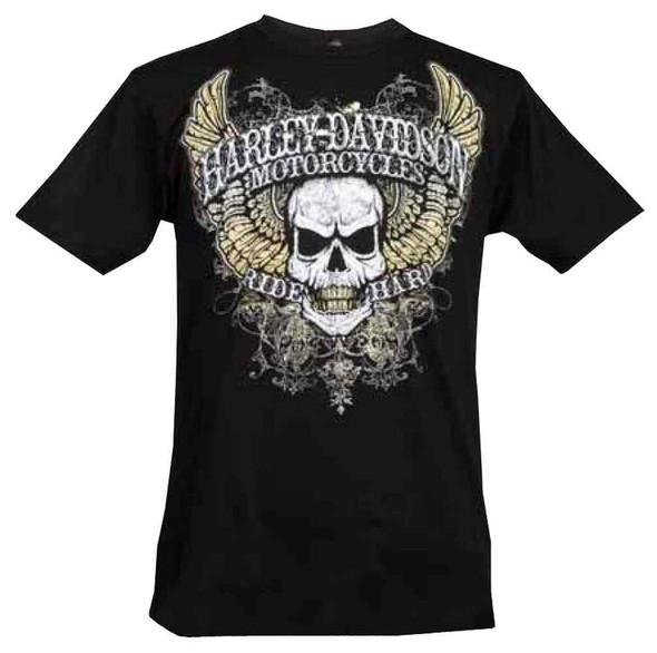 Harley-Davidson Men's Short Sleeve Lightweight Tee, Distressed Wing Skull, Black - Wisconsin Harley-Davidson