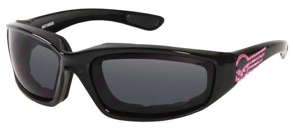 Harley-Davidson Women's Pink Label Sunglasses, Rhinestone Skull, Gray Lens/Black - Wisconsin Harley-Davidson