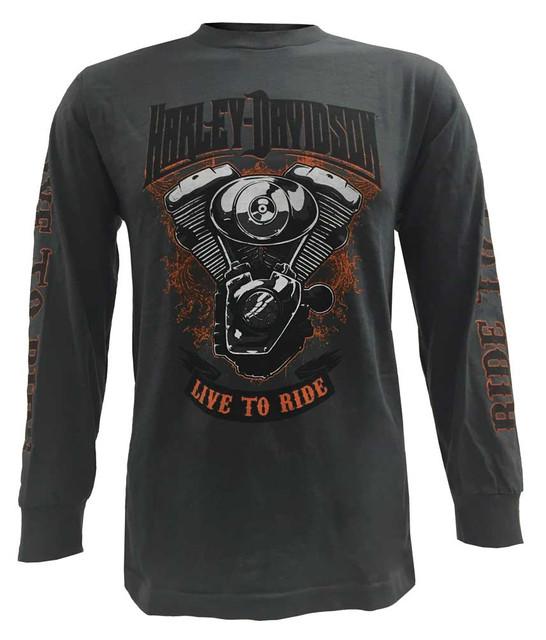 Harley-Davidson Men's Shirt, V-Twin Spectrum Long Sleeve, Charcoal 30293372 - Wisconsin Harley-Davidson