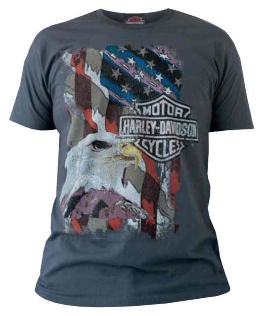 Harley-Davidson Men's Short Sleeve Tee, Have Courage Patriotic Eagle, Charcoal - Wisconsin Harley-Davidson