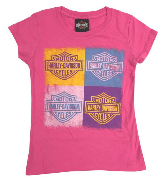 Harley-Davidson Big Girls' Youth Bar & Shield Cubes Short Sleeve Tee, Hot Pink - Wisconsin Harley-Davidson