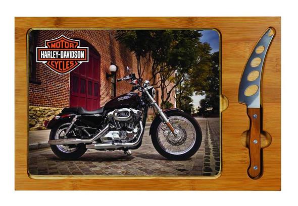 Harley-Davidson Cutting Board, Icon Sportster Print Glass/Wood Board 910-00-004 - Wisconsin Harley-Davidson