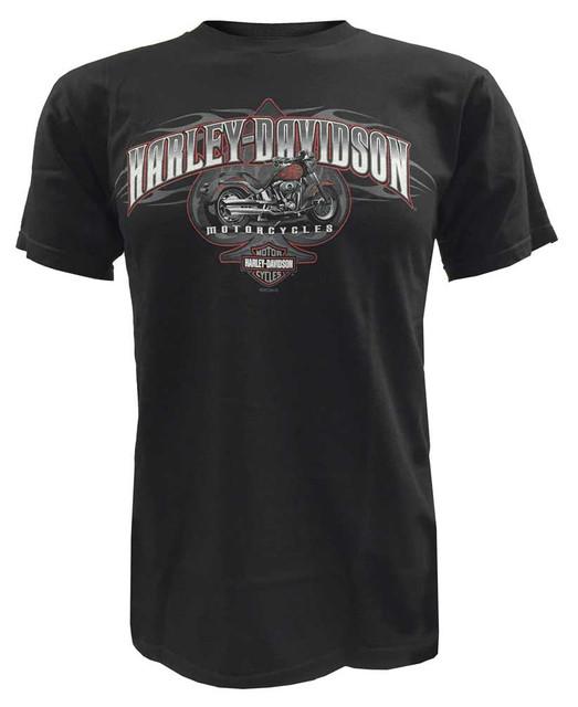 Harley-Davidson Men's Short Sleeve T-Shirt, Flames Motorcycle Ride, Black - Wisconsin Harley-Davidson