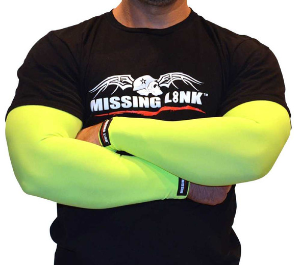 Missing Link SPF 50 Armpro Compression Sleeves Neon Green Turn Signals APTS - Wisconsin Harley-Davidson