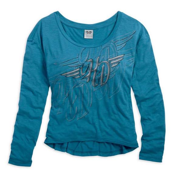 Harley-Davidson Women's Sleep Tee, H-D Winged Shirt, Blue 96279-15VW - Wisconsin Harley-Davidson