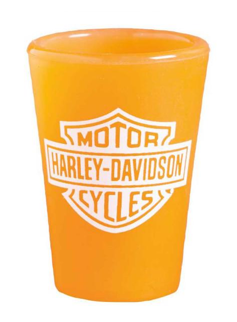 Harley-Davidson Silipint Shot Glass, Silicone Bar & Shield 1.5 oz Orange 2SS4900 - Wisconsin Harley-Davidson