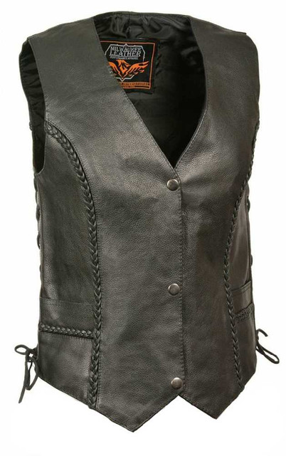 Milwaukee Leather Women's Braided Side Lace Vest w/ Classic Snaps ML1255 - Wisconsin Harley-Davidson