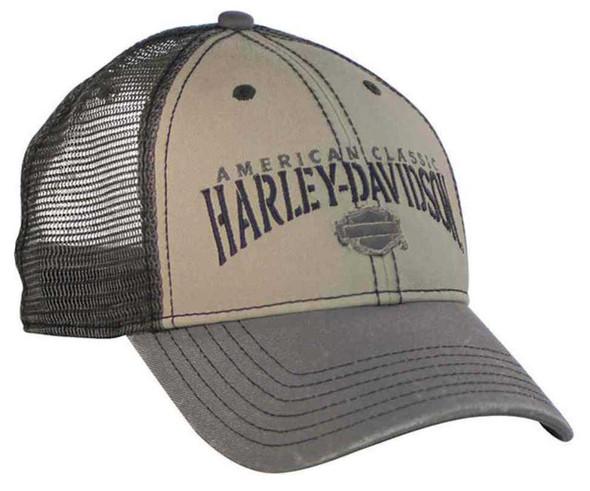 Harley-Davidson Men's American Classic H-D Text Baseball Cap Khaki/Gray BCC51612 - Wisconsin Harley-Davidson