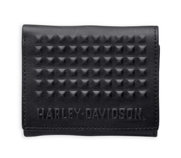 Harley-Davidson Men's Wallet, Stud Tri-Fold Leather Billfold, Black 97622-15VM - Wisconsin Harley-Davidson