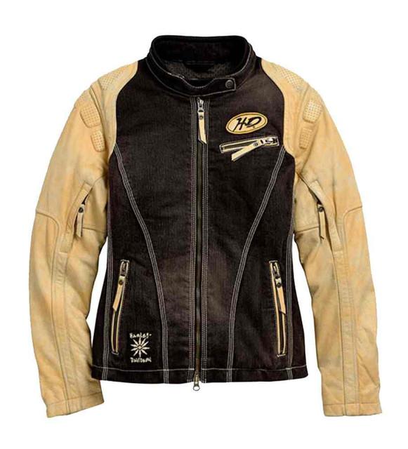 Harley-Davidson Women's Fade Out Denim & Leather Jacket, Black 97074-15VW - Wisconsin Harley-Davidson