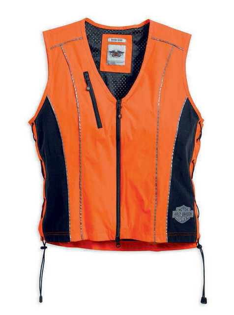 Harley-Davidson Women's Hi-Vis Vest, Safety Reflective Orange 98289-14VW - Wisconsin Harley-Davidson