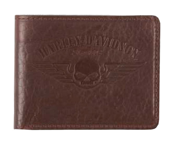 Harley-Davidson Men's American Bison Skull Billfold Wallet, Brown US1681L-BROWN - Wisconsin Harley-Davidson