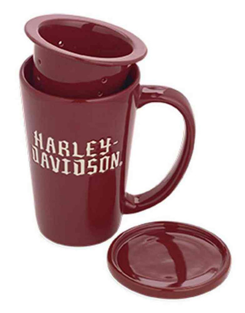 Harley-Davidson Ceramic Tea Infuser & Lid Mug Coffee Mug  Red/White. 96811-16V - Wisconsin Harley-Davidson