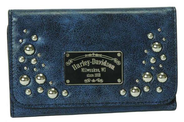 Harley-Davidson Women's Tri-Fold Clutch, Midnight Blue Leather MB4691L-BLUBLK - Wisconsin Harley-Davidson