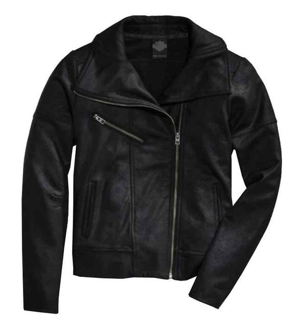 Harley-Davidson Women's Asymmetric Coated Ponte Biker Jacket, Black 97580-16VW - Wisconsin Harley-Davidson