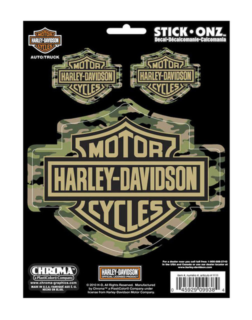 Harley-Davidson Camo B&S Stick-Onz 6 x 8 in Decal 3pc Decals CG9938 - Wisconsin Harley-Davidson