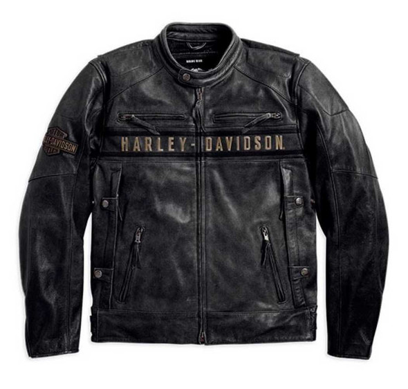 Harley-Davidson Men's Passing Link Triple Vent Leather Jacket 98074-14VM - Wisconsin Harley-Davidson