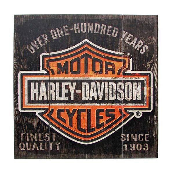 Harley-Davidson 28 x 28 Over One Hundred Years B&S Wood Sign W11-HARL-SHIELD - Wisconsin Harley-Davidson