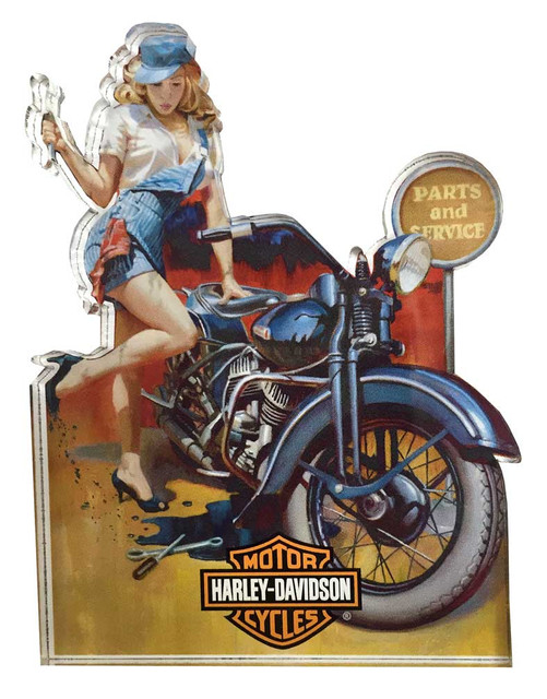Harley-Davidson Fix 'er Up Pin Up Lady Magnet, Hard Sided, 4 x 3 inches 8003883 - Wisconsin Harley-Davidson