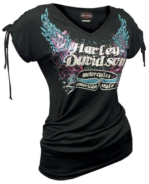 Harley-Davidson Women's Embellished H-D Script Winged Short Sleeve Tee, Black - Wisconsin Harley-Davidson