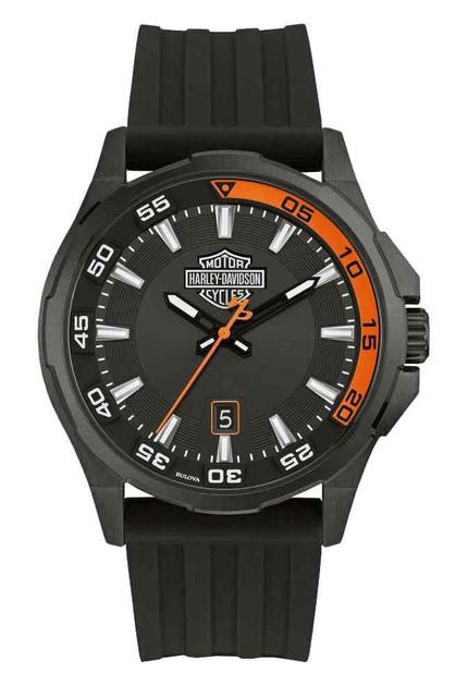 Harley-Davidson Men's Dashboard B&S Watch, Stainless Steel/Silicone Strap 78B140 - Wisconsin Harley-Davidson