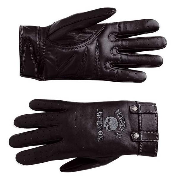 Harley-Davidson Women's Skull Full-Finger Black Leather Gloves 98381-10VW - Wisconsin Harley-Davidson