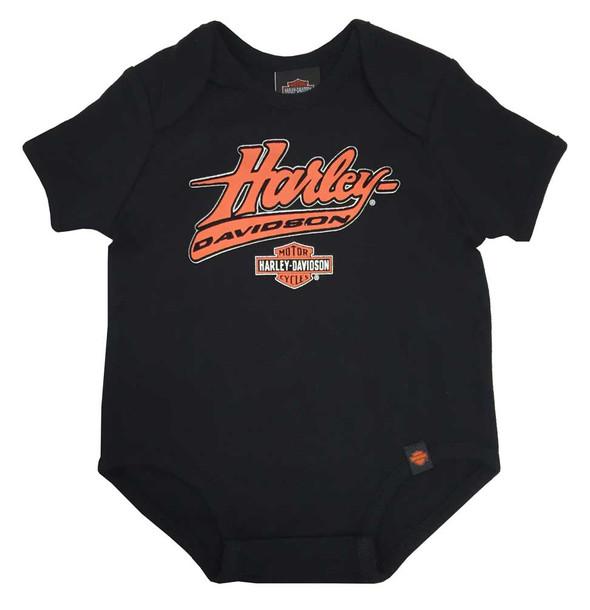 Harley-Davidson Baby Boys' Interlock Creeper, H-D Felt Script, Black 0263094 - Wisconsin Harley-Davidson