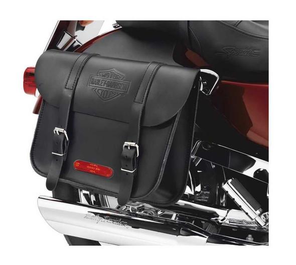 Harley-Davidson Throw-Over Bar & Shield Saddlebags Black Leather 91008-82C - Wisconsin Harley-Davidson