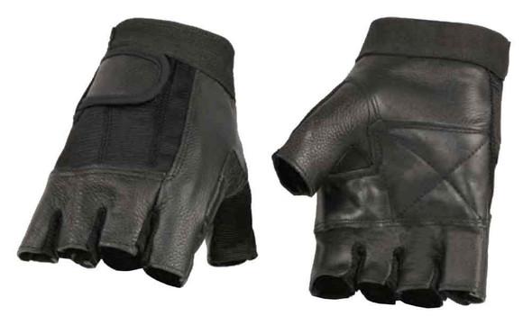 Milwaukee Leather Men's Leather Mesh Combo Fingerless Gloves, Black SH217 - Wisconsin Harley-Davidson