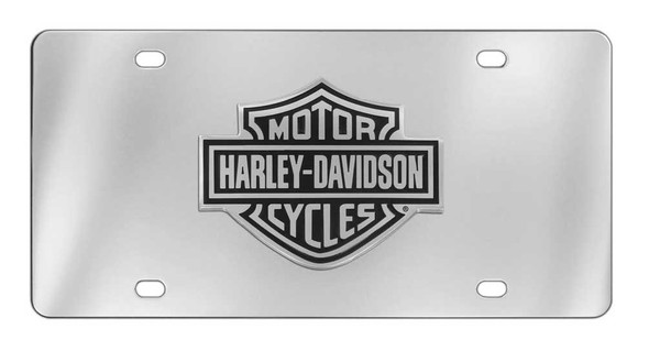 Harley-Davidson License Plate, Black Bar & Shield Emblem, Chrome HDLPD14 - Wisconsin Harley-Davidson