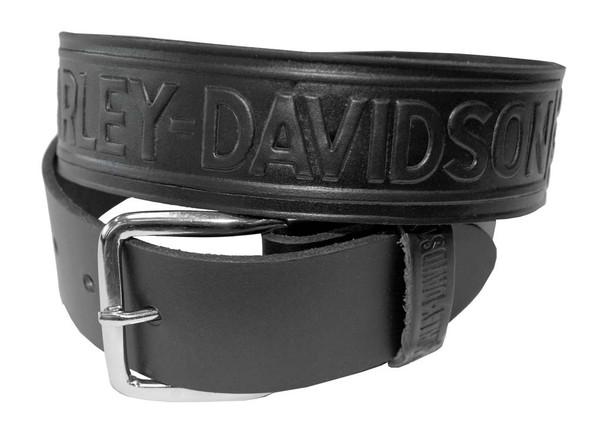Harley-Davidson Men's Bar & Shield Winged Embossed Leather Belt HD-12 - Wisconsin Harley-Davidson