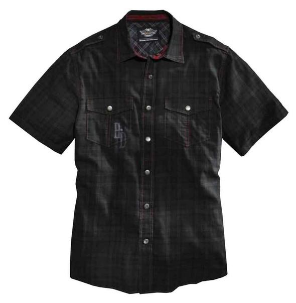 Harley-Davidson Men's Pigment Overdyed Plaid Short Sleeve Woven Shirt 96083-16VM - Wisconsin Harley-Davidson
