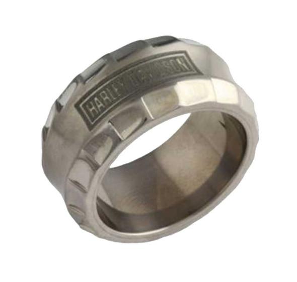 Harley-Davidson Stamper Men's Ring, H-D Titanium Detailed Edge TR004LG - Wisconsin Harley-Davidson