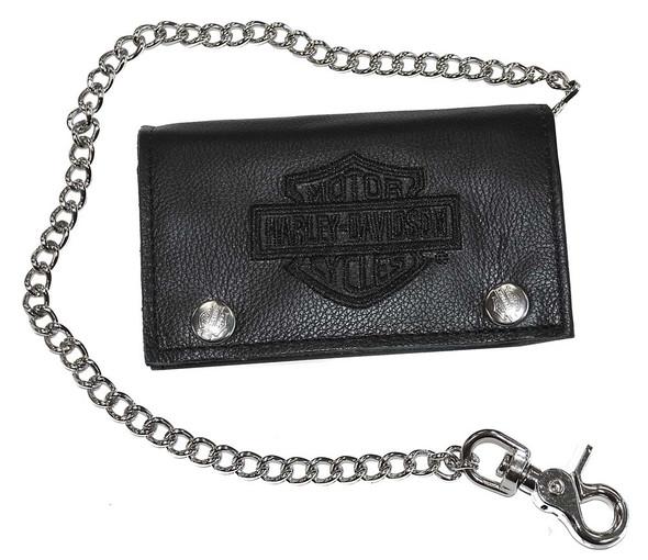 Harley-Davidson Men's Embroidered XL Tri-Fold Chain Wallet Leather TC817H-2B - Wisconsin Harley-Davidson