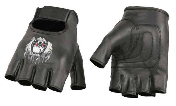 Milwaukee Leather Men's Premium Skull & Flame Fingerless Leather Gloves SH351 - Wisconsin Harley-Davidson