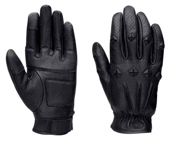 Harley-Davidson Men's Black Label Core #1 Skull Perforated Gloves 98219-16VM - Wisconsin Harley-Davidson