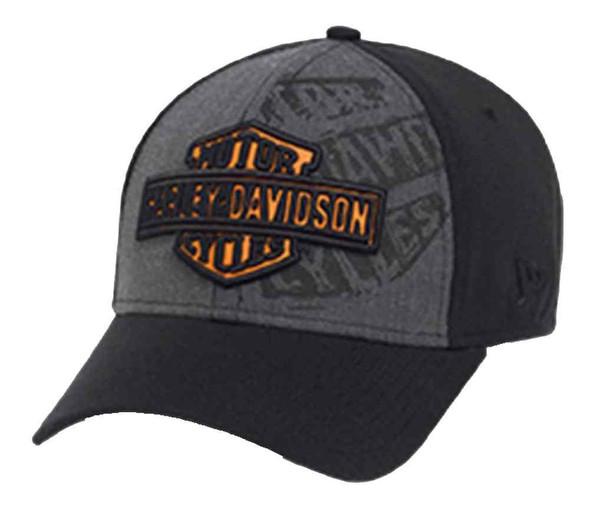 Harley-Davidson Men's 39THIRTY Layered Logo Baseball Cap, Black/Gray 97655-16VM - Wisconsin Harley-Davidson