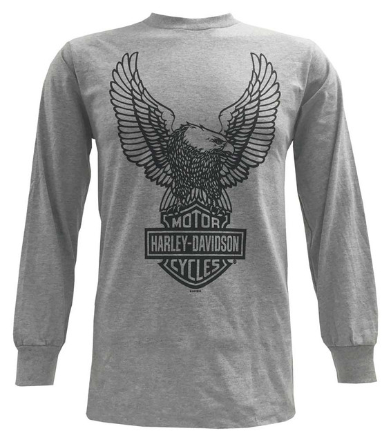 Harley-Davidson Men's T-Shirt, H-D Eagle Long Sleeve Tee, Gray 30296663 - Wisconsin Harley-Davidson
