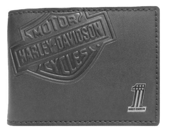Harley-Davidson Mens Embossed Bar & Shield Cash Clip Wallet, Black CR2375L-BLACK - Wisconsin Harley-Davidson
