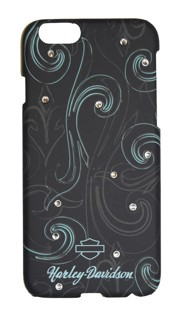 Harley-Davidson iPhone 6 Shell, Rhinestone Blue Swirls Design, Black 06932 - Wisconsin Harley-Davidson