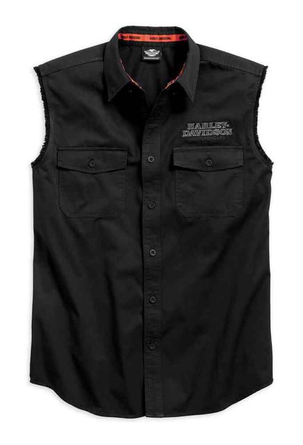 Harley-Davidson Men's Pinstripe Flames Sleeveless Blowout, Black 99051-16VM - Wisconsin Harley-Davidson