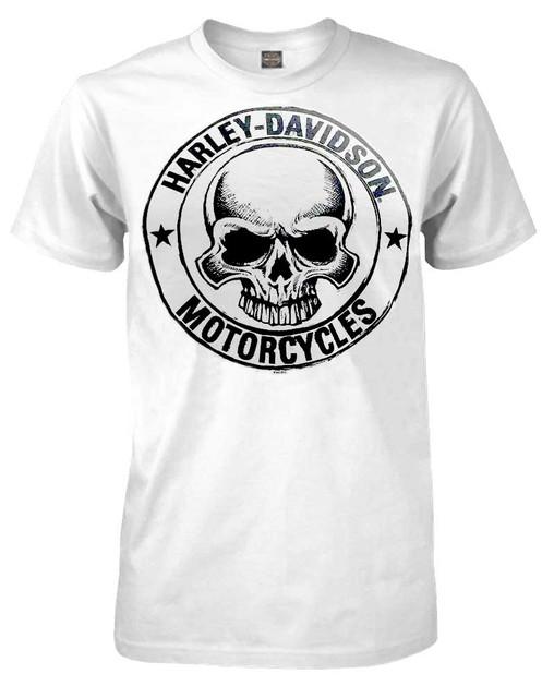 Harley-Davidson Men's H-D Skull Badge Short Sleeve T-Shirt White 30298294 - Wisconsin Harley-Davidson