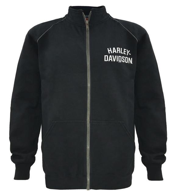 Harley-Davidson Men's Track Jacket, H-D Script, Black Zip Warm Up 30296620 - Wisconsin Harley-Davidson