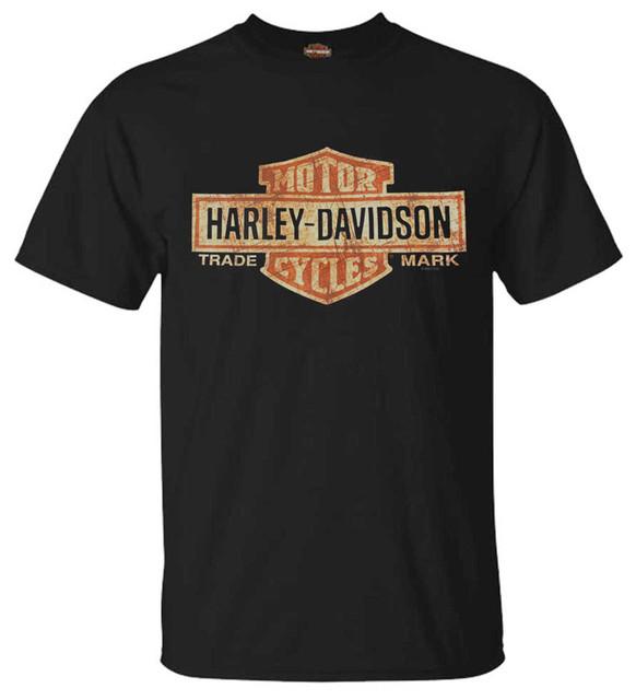 Harley-Davidson Men's Distressed Elongated Bar & Shield Black T-Shirt 30296553 - Wisconsin Harley-Davidson