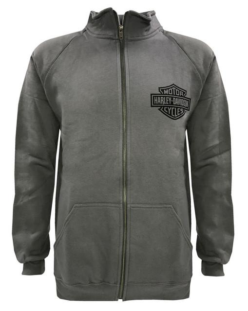 Harley-Davidson Men's Bar & Shield Track Jacket, Charcooal Zip H-D 30296617 - Wisconsin Harley-Davidson