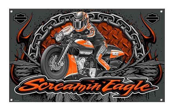 Harley-Davidson Screamin' Eagle Bike Banner, 3 x 5 ft. Charcoal Grey HARLNV0091 - Wisconsin Harley-Davidson