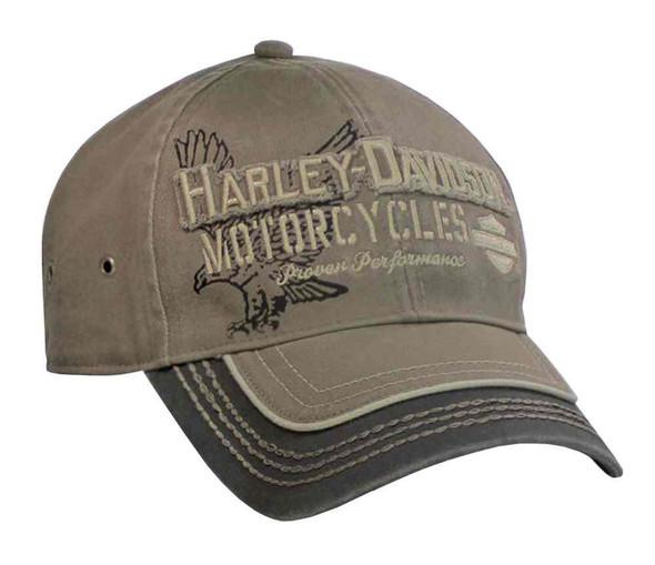 Harley-Davidson Men's Baseball Cap, Distressed Eagle Text, Stone Washed BC09280 - Wisconsin Harley-Davidson