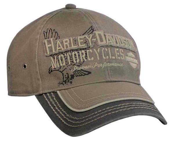 Harley-Davidson Men's Baseball Cap, Distressed Eagle Text, Stone/Lead BCC09280 - Wisconsin Harley-Davidson