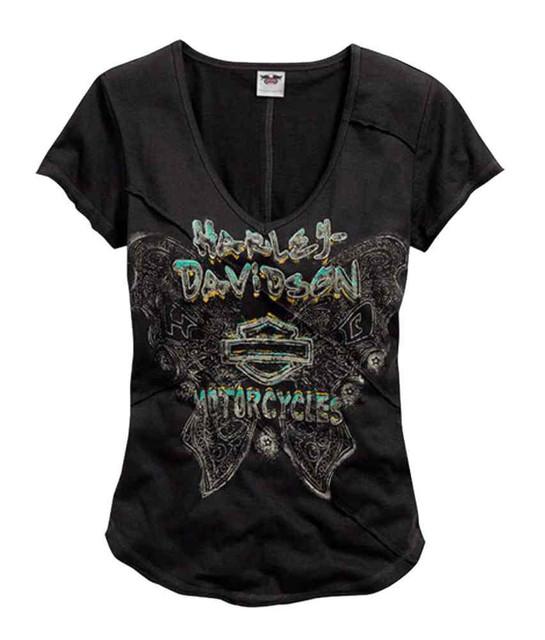 Harley-Davidson Women's Tee, Butterfly V-Neck Short Sleeve, Black 96031-15VW - Wisconsin Harley-Davidson